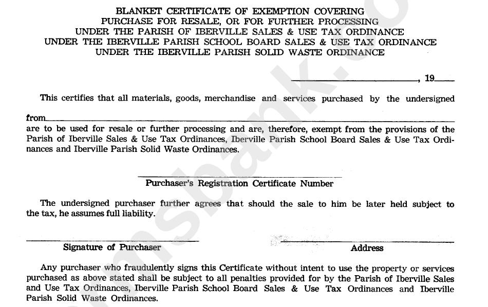 Blanket Certificate Of Exemption Covering Parish Of Iberville