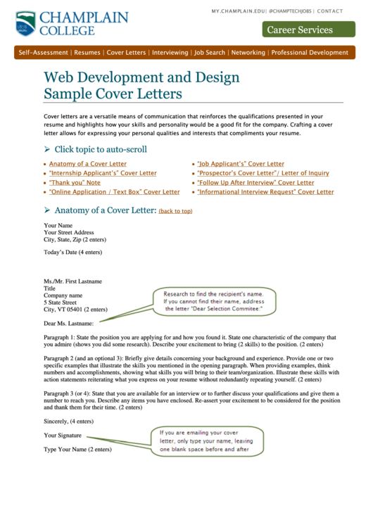 Web Development And Design Sample Cover Letters Printable pdf