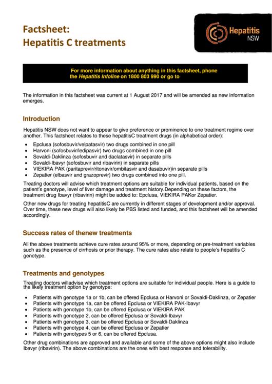 Factsheet - Hepatitis C Treatments Printable pdf