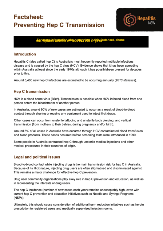 Factsheet - Preventing Hep C Transmission Printable pdf