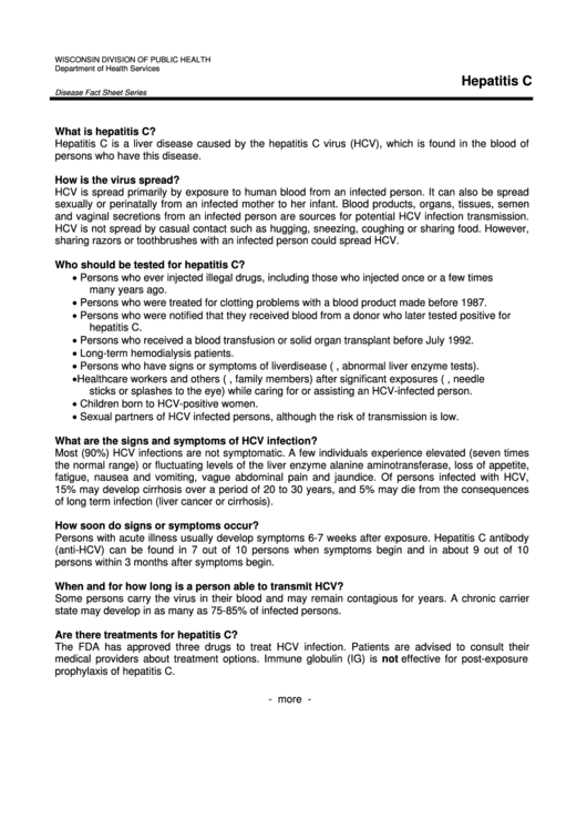 Hepatitis C - Disease Fact Sheet Series