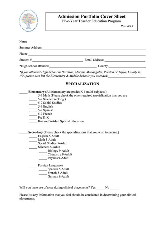 Admission Portfolio Cover Sheet