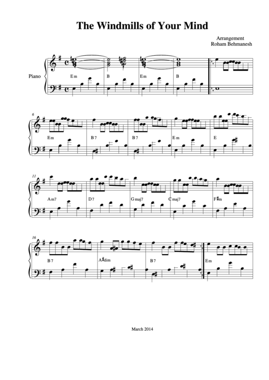 The Windmills Of Your Mind Piano Sheet Music