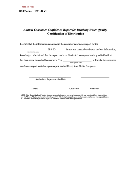 Fillable Sd Eform-1371ld - Annual Consumer Confidence Report For Drinking Water Quality Certification Of Distribution Printable pdf