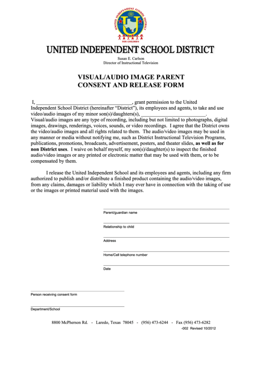 Visual/audio Image Parent Consent And Release Form