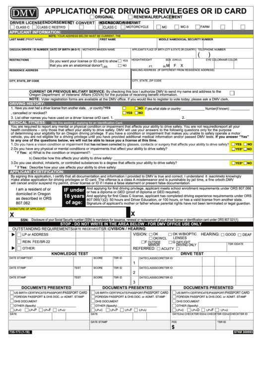 Fillable Form 735-173 - Application For Driving Privileges Or Id Card Printable pdf