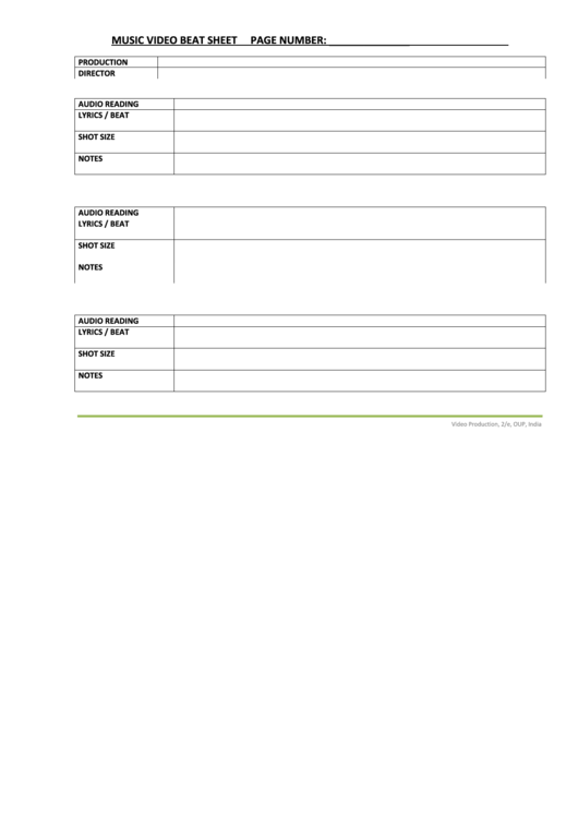 Music Video Beat Sheet Printable pdf