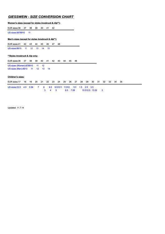 Giesswein Size Conversion Chart
