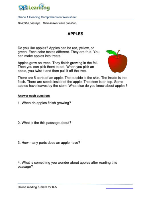 1st Grade Reading Comprehension Sheet - Apples printable ...