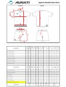 Avanti Apparel Standard Size Chart