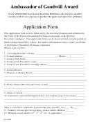 Application Form - Ambassador Of Goodwill Award