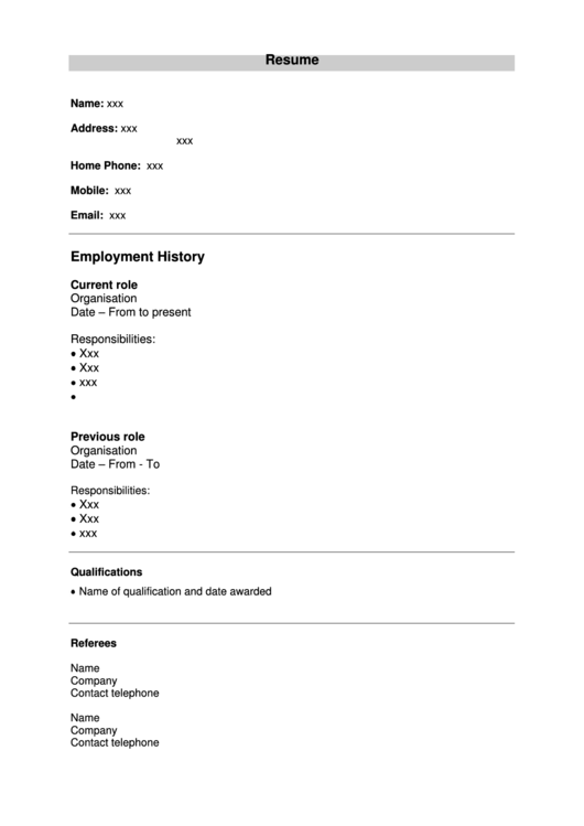 Basic Resume Template Printable pdf