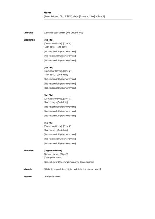 Chronological Resume Template Printable pdf
