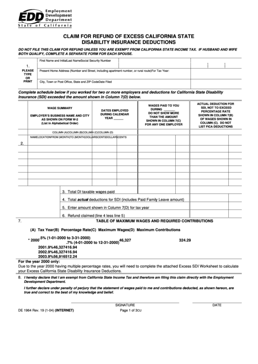 Form De 1964 - Claim For Refund Of Excess California State