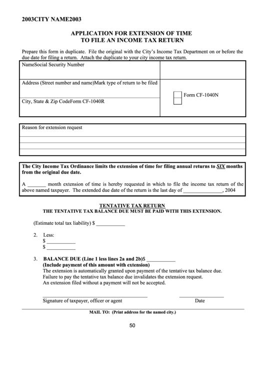 Application For Extension Of Time To File An Income Tax Return Form - 2003