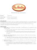 Sample Restaurant Manager Job Description Template