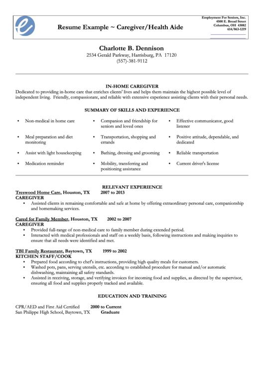 Resume Example - Caregiver/health Aide Printable pdf
