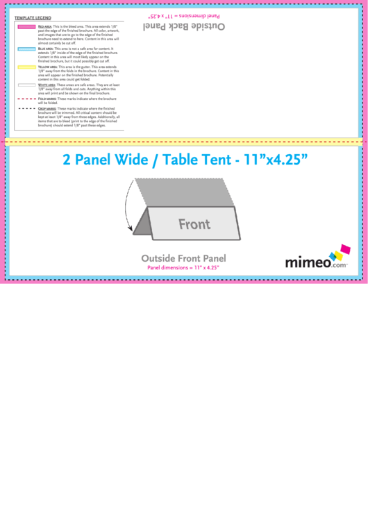 Two-panel Wide Table Tent Template
