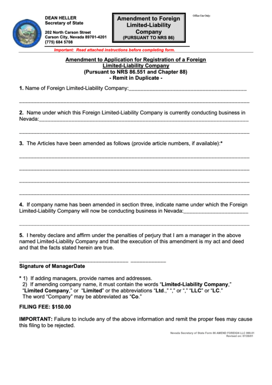Form 86 - Amendment To Foreign Limited-liability Company - 2001 Printable pdf