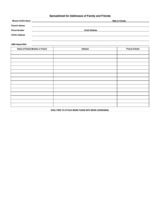 Spreadsheet For Addresses Of Family And Friends Printable pdf