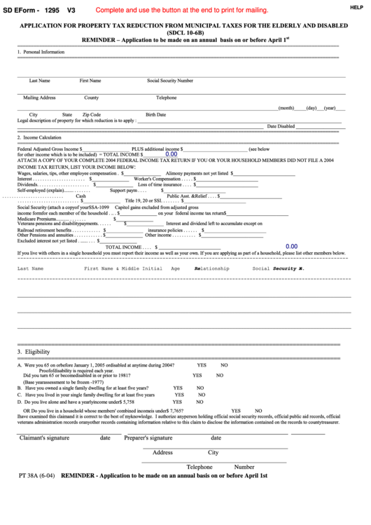 Fillable Form Pt 38a - Application For Property Tax Reduction From Municipal Taxes For The Elderly And Disabled - 2004 Printable pdf