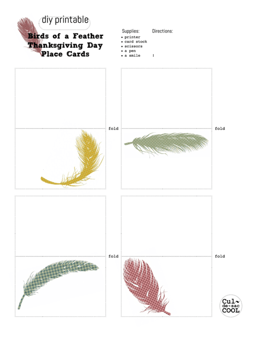 Birds Of A Feather Thanksgiving Day Place Cards