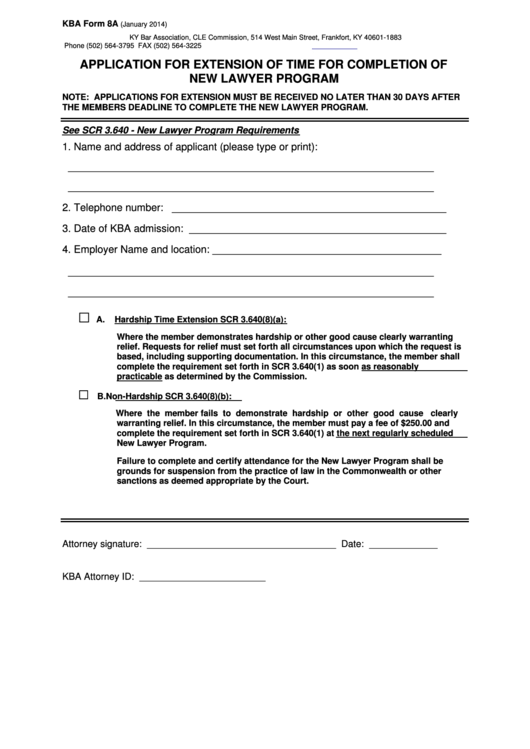 Kba Form 8a - Application For Extension Of Time For Completion Of New Lawyer Program