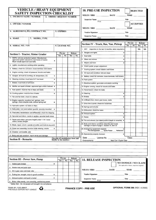 Optional Form 296 - Vehicle/heavy Equipment Safety Inspection Checklist