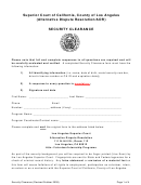 Security Clearance - Superior Court Of California - County Of Los Angeles (alternative Dispute Resolution/adr)