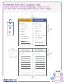 Backpack Checklist Luggage Tags Template
