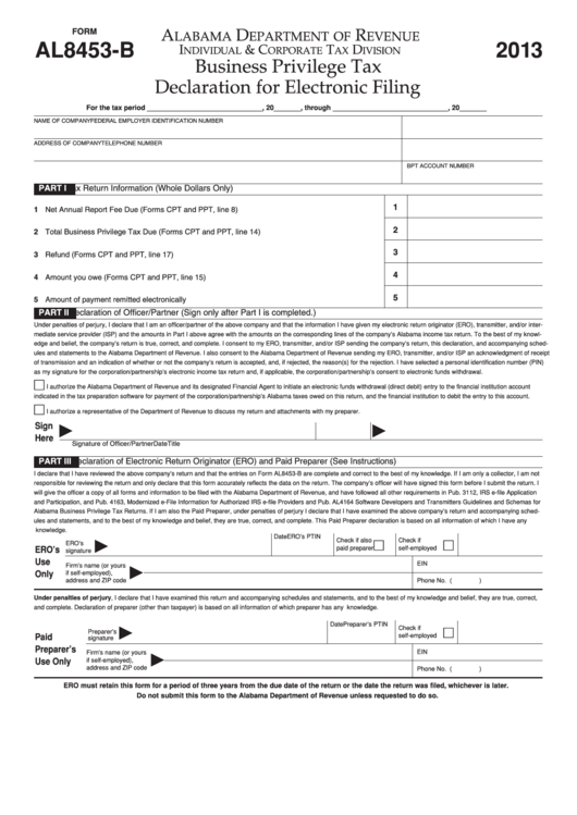Form Al8453-B - Business Privilege Tax Declaration For ...