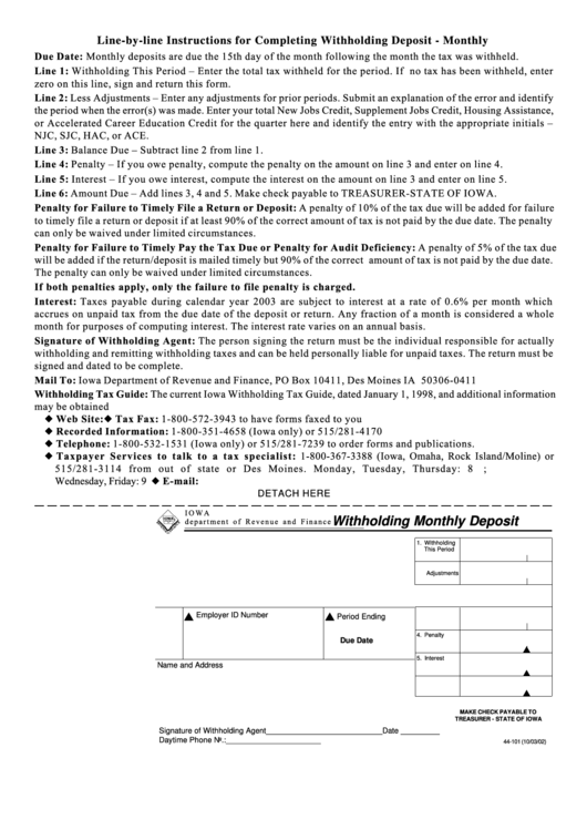 Fillable Form 44-101 - Withholding Monthly Deposit - Iowa Department Of Revenue And Finance Printable pdf