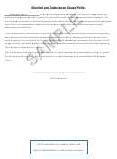 Sample Alcohol And Substance Abuse Policy Template