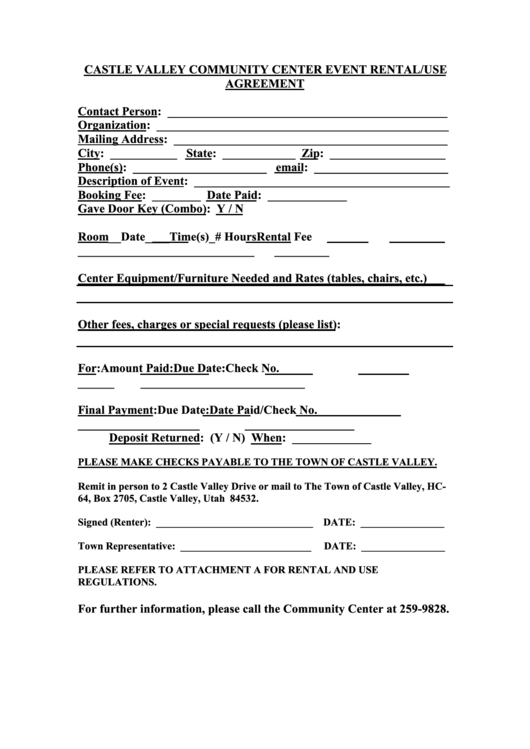 Castle Valley Munity Center Event Rental Use Agreement