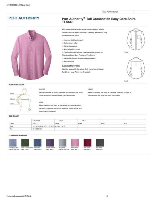 Port Authority Shirt Size Chart