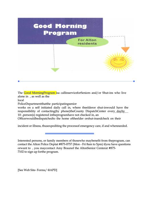 Alton Police Department Good Morning Program Application Form Printable pdf