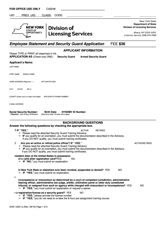 Fillable Form Dos-1206-F-A - Employee Statement And Security