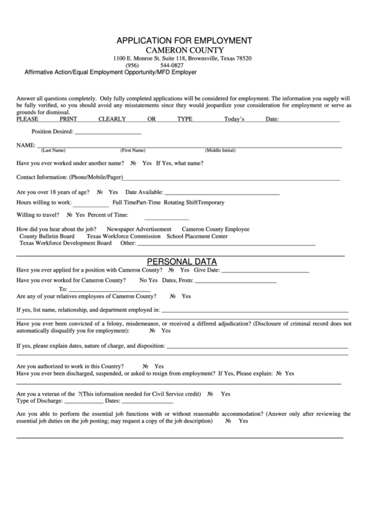 top 8 employment application form texas templates free to download