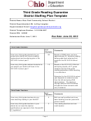 Third Grade Reading Guarantee District Staffing Plan Template - Ohio Dept.of Education