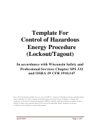 Template For Control Of Hazardous Energy Procedure (lockout/tagout)