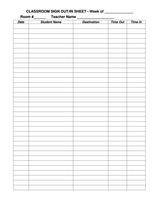 classroom sign outin sheet