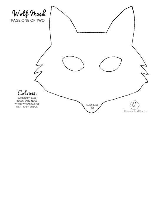 graphic about Wolf Mask Printable identified as Wolf Mask Template printable pdf obtain