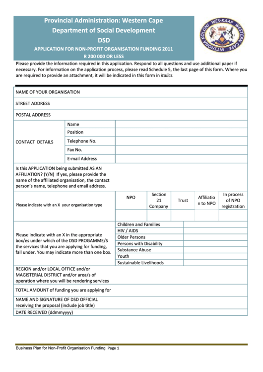 Application For Non-Profit Organisation Funding - 2011 Printable pdf