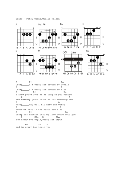 Crazy - Patsy Cline/willie Nelson Music Sheet printable pdf download
