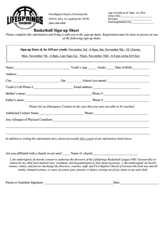 Basketball Sign Up Sheet Printable Pdf Download