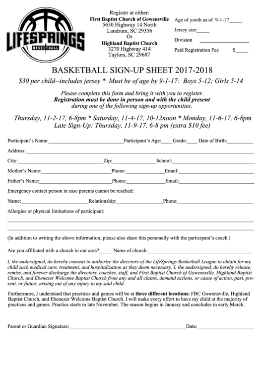 Basketball Sign-Up Sheet 2017-2018 Printable pdf