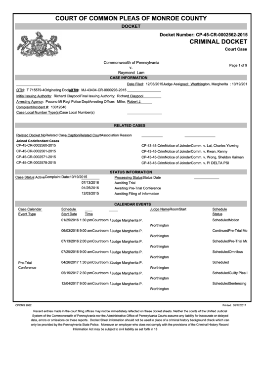 Form Cpcms 9082 - Criminal Docket - Court Of Common Pleas Of