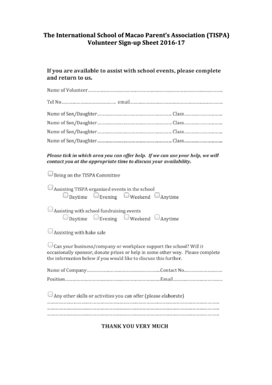 Volunteer Sign-Up Sheet 2016-17 Printable pdf