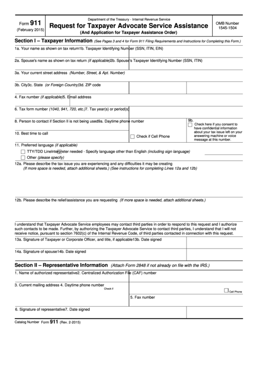 Fillable Form 911 - Request For Taxpayer Advocate Service Assistance (And Application For Taxpayer Assistance Order) Printable pdf