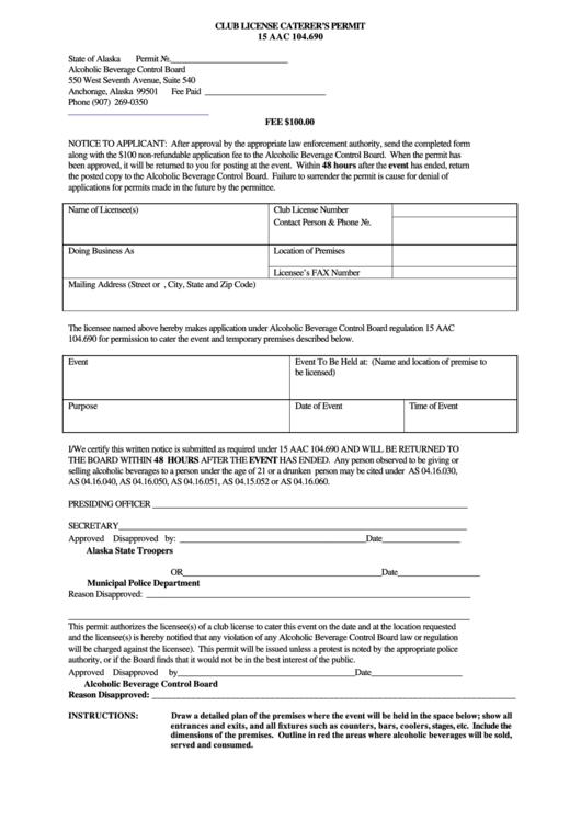Club License Caterer's Permit - Alaska Alcoholic Beverage Control Board